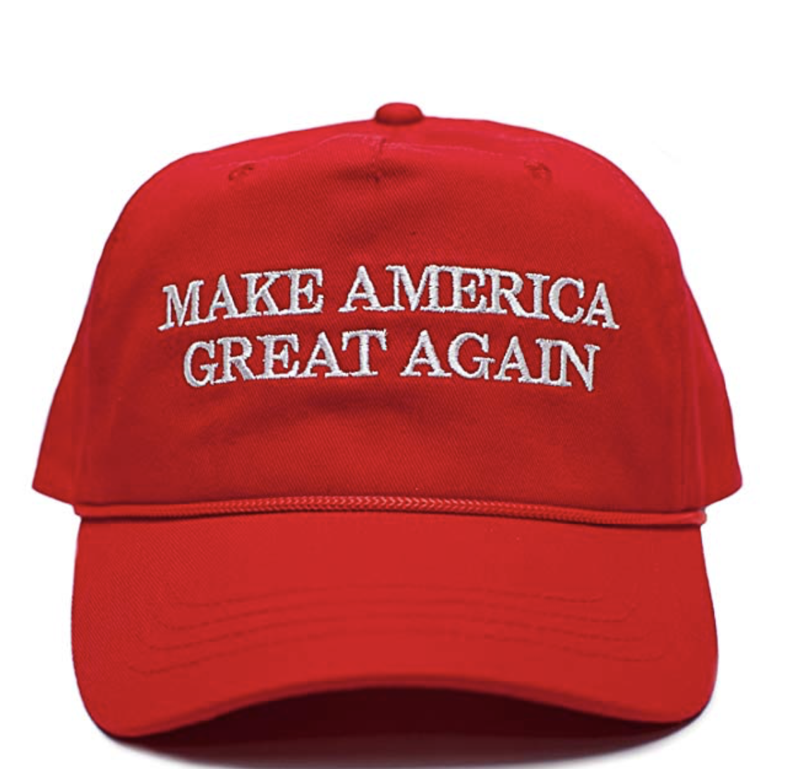 "Red baseball cap with white text reading ""Make America Great Again"", also referred to as MAGA."
