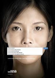 "Image of a woman with a search bar covering her mouth with the text ""woman should"" and listing sexist stereotypes"