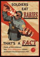 Propaganda of German soldier eating babies
