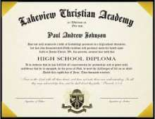This is a picture of a school diploma
