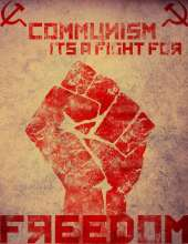 Red fist with title 'communism is a fight for freedom'