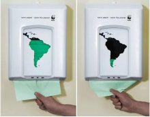 This was produced by the advertising agency Saatchi & Saatchi A/S in 2007 from the WWF company. This is to make people realize that saving the planet starts with them saving paper, we took a standard paper dispenser and made a simple modification with green foil and the silhouette of South America. This allowed us to prove that the survival of the forest is directly connected to what people consume.