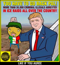You have to go back pal! More than 30,000 criminal illegals arrested in ICE raids all over the country. Like if you agree.