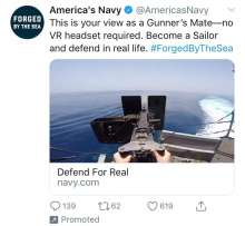 "Automatic weapon on Navy ship with caption ""no VR headset needed"""