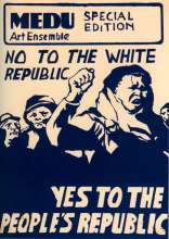 The poster shows a group of people in a march against the white republic. They are advocating, rather, for a people's republic.
