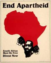 "A black man climbing out of a red Africa, captioned ""End Apartheid"""