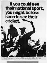 "The text reads ""If you've seen their national sport, you might be less interested in their cricket"" with and image of police officers attacking black South Africans"