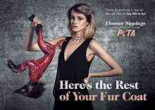 A campaign by PETA to stop the purchasing of fur coats; a model holding a skinned animal.