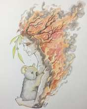 A tree that is burning is made to look like Mother Nature holding a koala to try and protect it.
