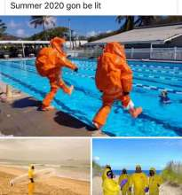 People having a good summer in Hazmat suits