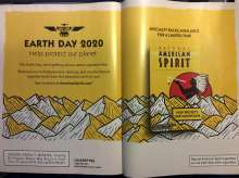 A two page ad spread by American Spirit tobacco celebrating Earth Day 2020.