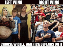 Right Wing vs. Left Wing Meme in Support of Right Wing and Trump