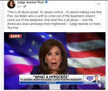 Facebook post by Judge Jeanine Pirro of her co-hosting Fox News' The Five.